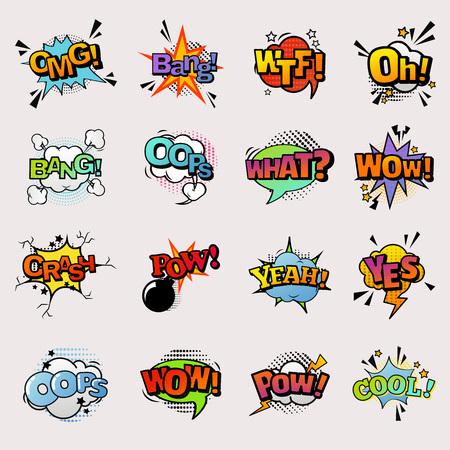 Pop art comic vector speech bubbles popart style in humor bubbling expression asrtistic comics shapes isolated on white background illustration Çizim