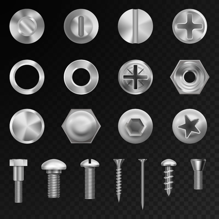 Screw vector steel bolts nuts and metal rivet screwing head bolts construction elements isolated illustration Çizim