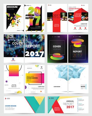Cover ontwerp vector jaarverslag rapportsjabloon van brochure voor bedrijfspresentatie rapportage jaarlijks illustratie set geïsoleerd op een witte achtergrond