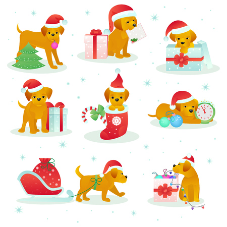 Christmas dog pet vector animal puppy in santa hat on Xmas or Happy New year holiday celebration with gift presented to doggy isolated on white background illustration. Stock Vector - 91048043