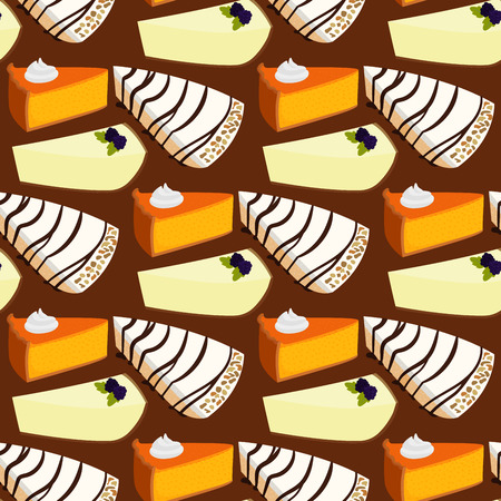 Homemade organic pie dessert vector illustration fresh golden rustic gourmet bakery seamless pattern background. Zdjęcie Seryjne