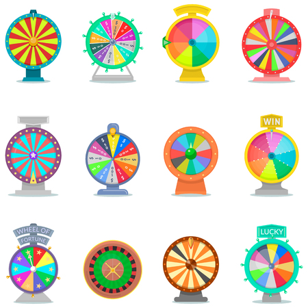 Fortune wheel vector spin game icons casino roulette with arrow lucky winner or bankrupt in fortunate wheeled lottery bet set illustration isolated on white background 版權商用圖片 - 91082094