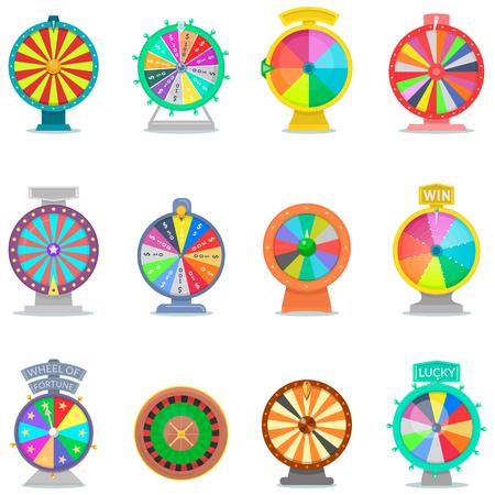 Ruota della fortuna vettore spin gioco icone roulette del casinò con la freccia vincitore fortunato o fallito nella scommessa della lotteria a ruote fortunate imposta illustrazione isolato su sfondo bianco Archivio Fotografico