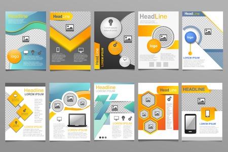 Cover ontwerp vector jaarverslag rapportsjabloon van brochure voor bedrijfspresentatie die rapportage jaarlijks illustratie set geïsoleerd op een witte achtergrond Stockfoto