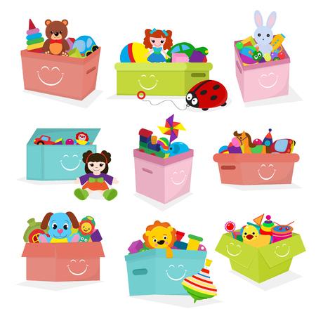 아이 장난감 상자 벡터 아기 컨테이너 toyshop 테 디 베어 babyroom 상자에서 재생 그림 흰색 배경에 고립 된 집합 스톡 콘텐츠