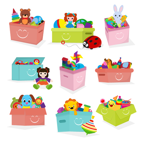 Kids toys box vector baby container with toyshop teddy bear play in babyroom boxes set illustration isolated on white background