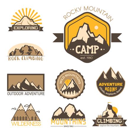 Mountain vector silhouette nature outdoor rocky snow ice top decorative landscape travel climbing mount-hill peak hiking illustration Ilustração