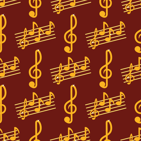 Vector music note melody symbols seamless pattern background vector illustration waves sound graphic clef signature.