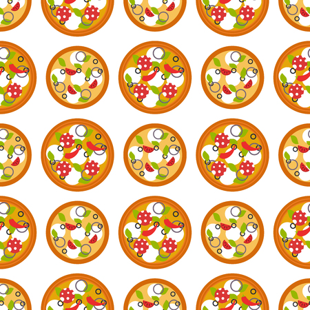 Delivery pizza seamless pattern background pizzeria restaurant service fast food vector illustration.  イラスト・ベクター素材