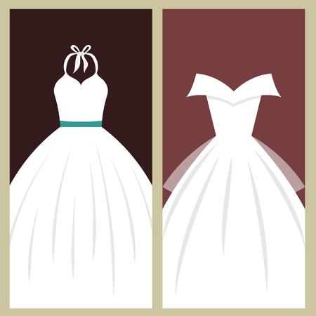 결혼식 신부 드레스 카드 우아함 스타일 축 하 벡터 일러스트 레이 션. 현대적인 액세서리 실루엣에서 만든 패션 신부 디자인입니다. 휴일 벡터 신부