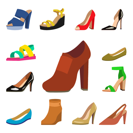 Womens shoes vector flat fashion design collection of leather colored moccasins shoes sandals illustration.