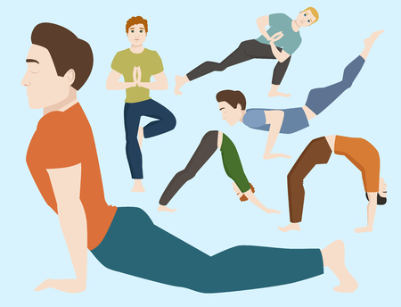Yoga positions mans characters class vector illustration. Meditation male concentration human peace sport. Lifestyle relaxation health exercise. Illustration