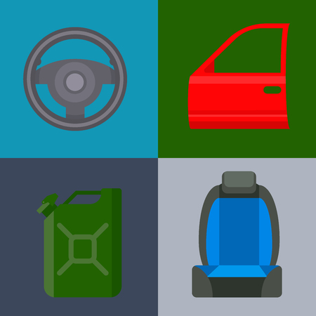 Car vector parts auto repair service vehicle mechanic repair of machines and equipment motocar illustration. Vector illustration and flat icons. Illustration
