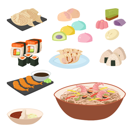 Japan vector food traditional meal cooking culture sushi roll and seafood lunch japanese asian cuisine illustration. Illustration