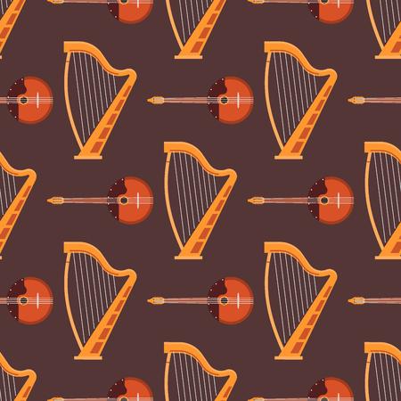 シームレスなパターン背景弦楽器楽器サウンド ツールと音響交響楽団弦フィドル装置ベクトル図です。ビンテージ パフォーマンス古典的なフォーク  イラスト・ベクター素材