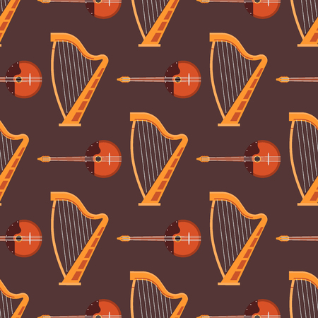 Seamless pattern background stringed musical instruments sound tool and acoustic symphony stringed fiddle equipment vector illustration. Vintage performance classic folk rock artistic sign. Ilustração