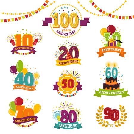 記念バッジセットベクトル誕生日番号エンブレムホリデー記念お祝い誕生日年齢レターとリボンユニバーサルイラストが白い背景に隔離