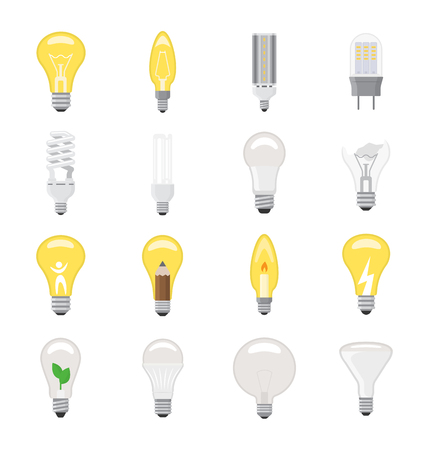 Light bulb vector lightbulb idea icon solution electric lighting lamp energy cfl or led electricity and fluorescent light illustration isolated on white background Imagens