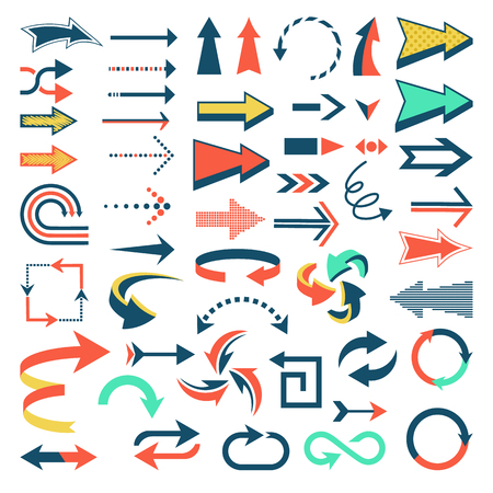 Arrow icons vector set arrowheads direction or cursed arrow design up down narrow circle sign collection illustration isolated on white background Stock Photo