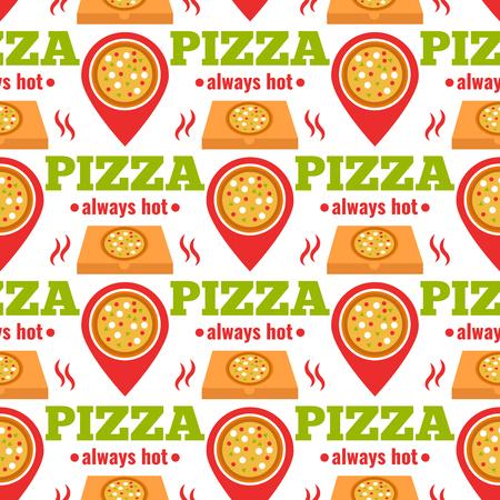 Seamless design of pizza delivery design illustration  イラスト・ベクター素材