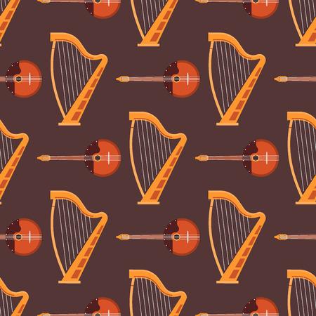 弦楽器フィドル木製機器ベクトルイラストのシームレスなパターン