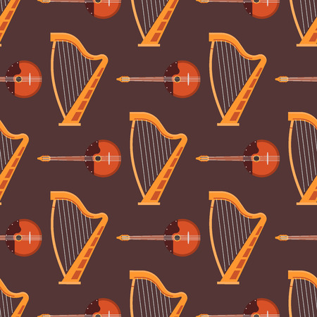 A Seamless pattern of stringed musical instruments  Fiddle wooden equipment vector illustration