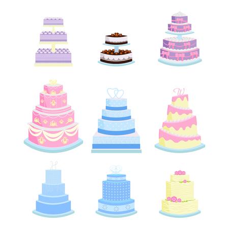 Set of wedding cakes vector illustration