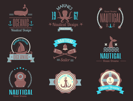 Set of sea marine vector nautical logo icons sailing themed label for badges