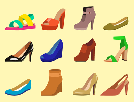 Womens shoes vector flat fashion design. collection of leather colored moccasins sandals illustration Illustration