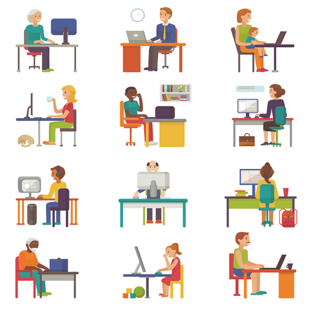 Set of people work place vector business worker or person working on laptop at the table in office coworker or character workplace on computer with illustration isolated on white background