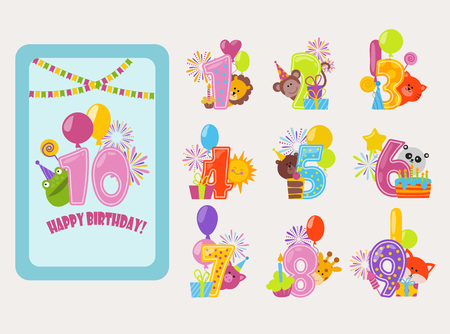 Birthday numbers vector cartoon anniversary birth balloon numbered icons birthdate party invitation card numeral 1, 2, 3, 4 and 5 year numbering template figure isolated badges illustration