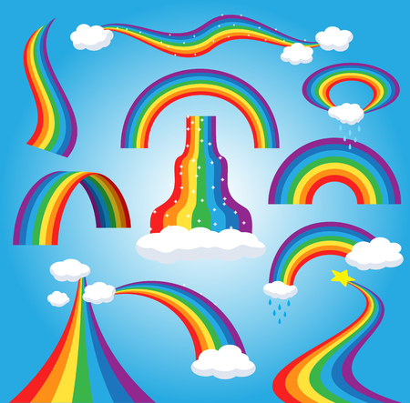 Rainbow vector colorful bowed arc in raining sky multicolored cartoon arch or bow spectrum of colors with rainy clouds illustration isolated on blue background.