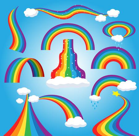 Regenboog vector kleurrijke gebogen boog in regenende hemel veelkleurige cartoon boog of boog spectrum van kleuren met regenachtige wolken illustratie geïsoleerd op blauwe achtergrond.