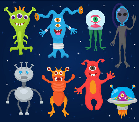 Monster alien vector cartoon monstrous character cute alienated creature or funny gremlin on halloween for kids monstrosity and alienation illustration isolated on white background Çizim
