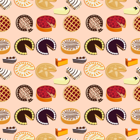 Homemade organic pie dessert vector illustration fresh golden rustic gourmet bakery seamless pattern background. Vettoriali