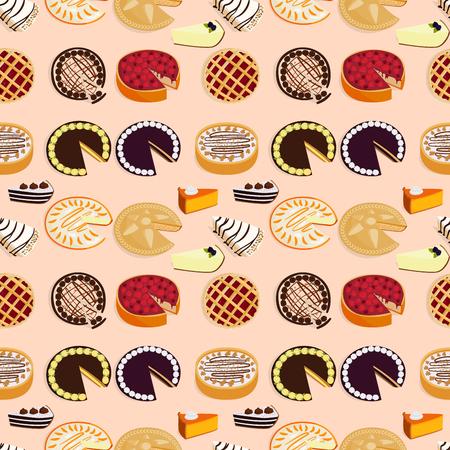 Homemade organic pie dessert vector illustration fresh golden rustic gourmet bakery seamless pattern background. Illustration
