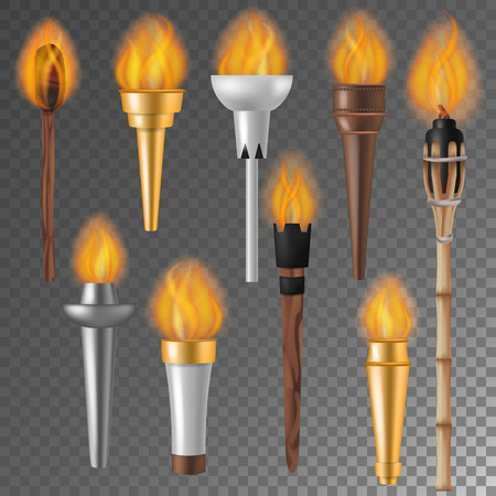 Torch flame vector flaming torchlight or lighting flambeau symbol of achievement torching with burned fireflame 3d realistic illustration isolated on background Stock Illustratie