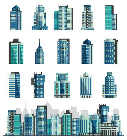 Building skyscraper or city skyline vector set cityscape with business officebuilding of commercial company and build architecture to high sky illustration isolated on white background Illustration