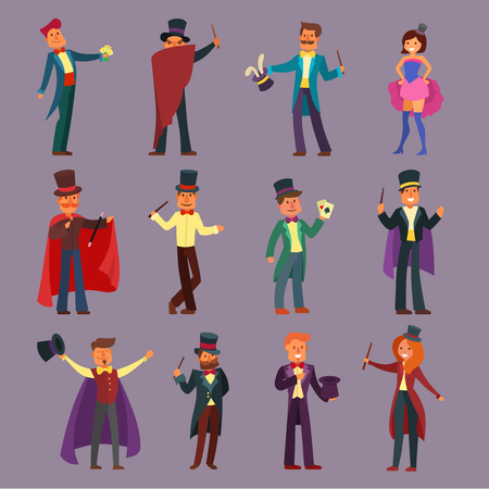 Magician vector illusionist show magic man illusion or magical illusionism and cartoon character person in hat show performance playing cards isolated on white background illustration Standard-Bild - 91944149