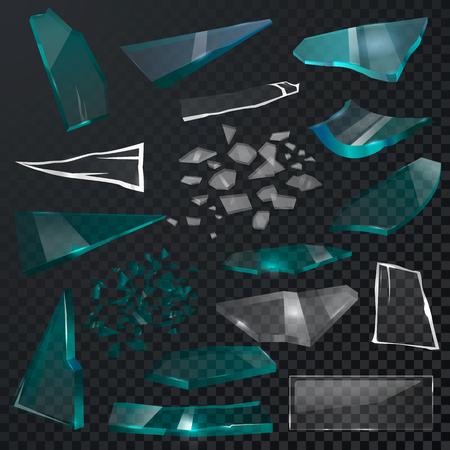 Gebroken glas scherpe stukken vector 3d realistische verbrijzelde glassful en verbrijzel of breek spiegel of glazen die op zwarte transparante achtergrondillustratieachtergrond worden geïsoleerd