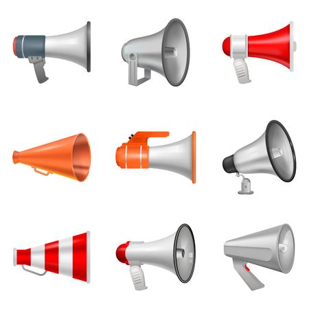 Haut-parleur de mégaphone vecteur bullhorn ou annonce et voix forte en haut-parleur ou annonce en corne illustration isolée sur fond blanc