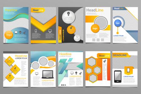 Cover ontwerp vector jaarverslag rapportsjabloon van brochure voor bedrijfspresentatie die rapportage jaarlijks illustratie set geïsoleerd op een witte achtergrond.