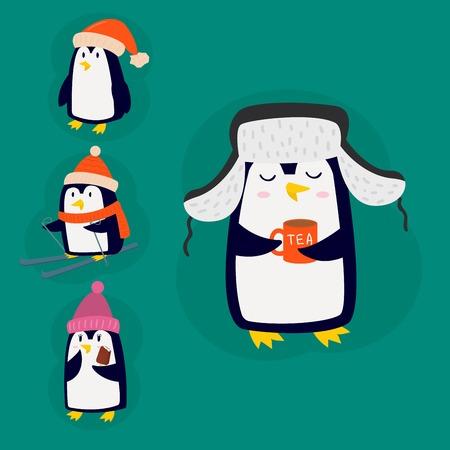 Pinguim natal ilustração vetorial caráter cartoon engraçado animal bonito antarctica polar bico poste pássaro de inverno. Foto de archivo - 92480336
