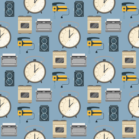 Retro vintage household appliances vector kitchenware seamless pattern background technology utensil housework electric equipment illustration. Çizim
