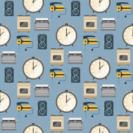 Retro vintage household appliances vector kitchenware seamless pattern background technology utensil housework electric equipment illustration. Illustration