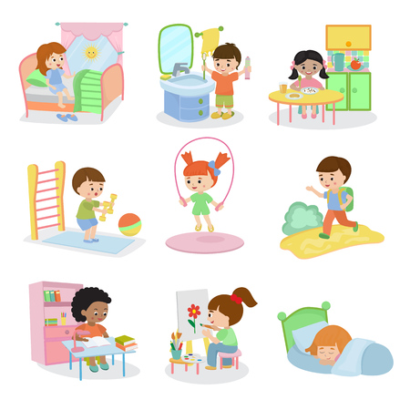 Kids everyday activities set children daily activity routine in childhood character active child eating or studying illustration sleeping girl or playing boy in childroom
