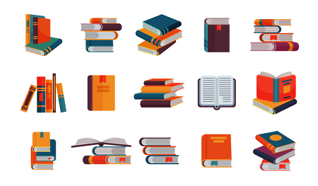Books vector stack of textbooks and notebooks on bookshelves reading literature in library or bookstore bookish cover illustration set isolated on white background Illustration