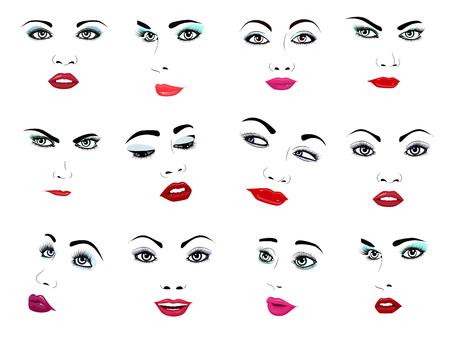 Gezichts vector het portret vrouwelijke gezichts van de vrouw of van de meisjesschoonheid manier onder ogen gezien zorg en mooie vrouwen die met make-upillustratie onder ogen zien die op witte achtergrond wordt geïsoleerd. Stock Illustratie