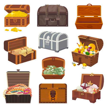 Chest vector treasure box with gold money wealth or wooden pirate chests with golden coins and ancient jewels illustration isolated on white background Stock Vector - 93462475