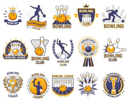 Bowling logo vector bowler sport spel met steegje of bowlingbal kegelen en staking op toernooi of competitie in bowl club geïsoleerd op witte achtergrond